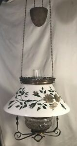 Antique Oil Lamp Glass Shade Chandelier Cast Iron Counter Weight Pulley 35