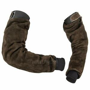 Welding Arm Protection Sleeves Deluxe Leather Kevlar Stitched Satin Lined Pair W