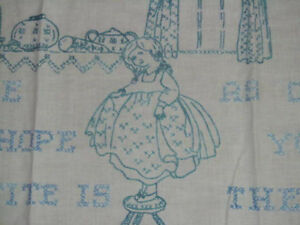 Blue Embroidery Antique Kitchen Wall Hanging Motto Home Guest Hand Embroidered