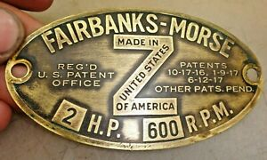 2hp Fairbanks Morse Z Original Name Tag Hit And Miss Old Gas Engine