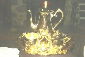 5 Pc Set Gold Plated Coffee Tea Service W Tray Sugar Creamer