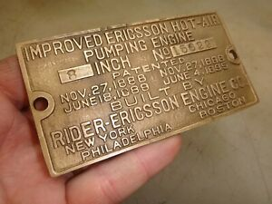 8 Rider Ericsson Original Name Tag Hot Air Hit And Miss Old Gas Engine