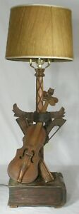 Vintage Folk Art Hand Carved Violin Book Table Lamp Rewired Antique Lamp Musical