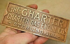Charter Cast Brass Name Tag Reproduction Fm Old Hit And Miss Gas Engine