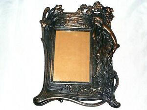 Vintage Heavy Art Nouveau Woman Figure Copper Finish Cast Metal Picture Frame