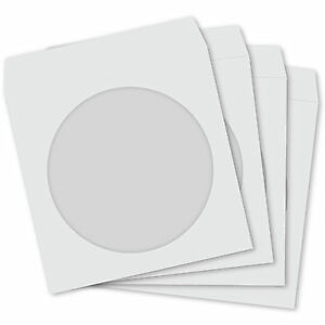 Cd dvd Paper Sleeves White Sleeve Cover Case With Window Flap 100 Gsm