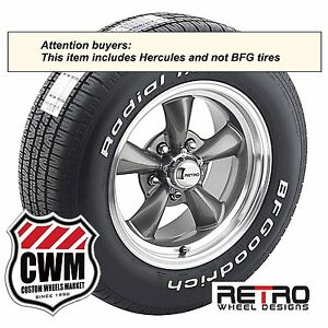 15 Inch 15x7 Gray Wheels Rims H P 4000 Tires 215 65r15 For Ford Mustang 1967 70