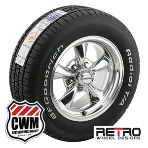15 Inch 15x7 Polished Wheels Rims Tires 215 65r15 For Chevy Chevelle 1964 1972