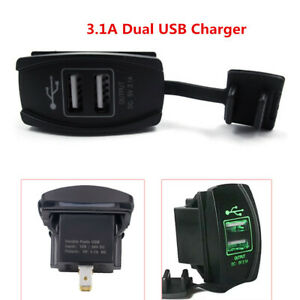 Universal 3 1a Dual Usb Charger Voltmeter Rocker Push Switch Car Boat Green Led