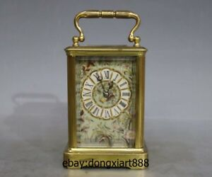 6 Old Europe Brass Porcelain France Mechanical Clockwork Table Clock Portable