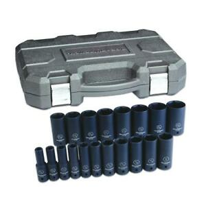 Gearwrench 84934n 19 Pc 1 2 Dr 6 Point Sae Deep Impact Socket Set