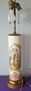 Antique Hand Painted T Quentin Sevres Porcelain Lamp Signed Ormulu Mother Child