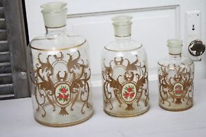 3 Antique Glass Apothecary Jars French Hand Painted Gold Pink Roses Large Sizes