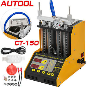 Ct150 Auto Fuel Injector Cleaner Tester Ultrasonic Gasoline Petrol 4 Cylinder