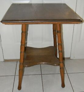 Antique Solid Oak Plant Stand Parlor Lamp Table W Lower Shelf Very Solid