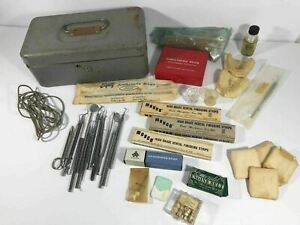 Vintage Dental Kit Accessories Tools Picks Mirrors Instruments Stainless Gauze