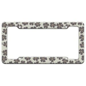 Gray Flowers License Plate Tag Frame