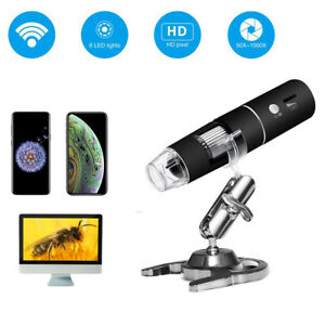 1000x Microscope Magnifier Camera Led Zoom 1080p Wifi Digital With Holder S0k5t
