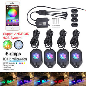 4 Pod Led Rock Light Neon Kit Control For Dodge Ford Honda Nissan Atv Utv Truck