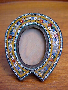 Micromosaic Picture Frame Italy Brass Small Very Finely Worked Millefiori