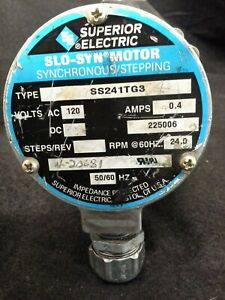 Superior Electric Slo syn Motor Ss241tg3 120vac 50 60hz 20 24rpm