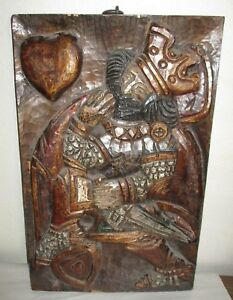 Carved Polychrome Panel King Hearts Relief Wood Carving Renaissance Wall Hanging