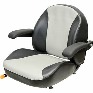 K M Garden lawn Tractor Seat With Folding Armrests Black silver Vinyl 8467