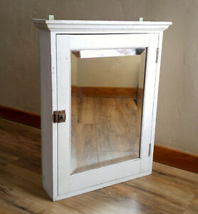 Antique Wooden Wall Medicine Cabinet W Beveled Mirror Crown Molding Latch