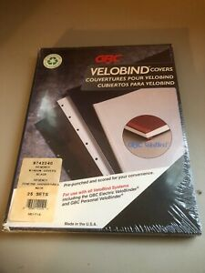 Gbc Velobind Covers Black 25 Sets 9742240 Pre punched Scored Made In Usa