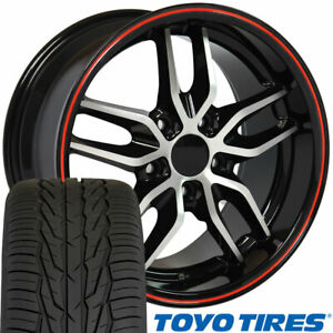 Cp 17 Wheel Tire Set Fit Corvette Stingray Blk Mach D W Red Rims Toyo X