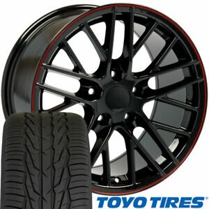 Cp 17 Wheel Tire Set Fit Corvette C6 Zr1 Style Black W Red Rims 5402 Toyo X