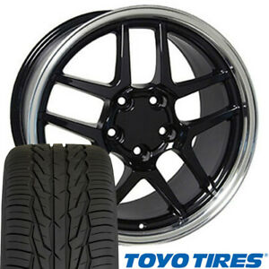 Cp 17 Wheel Tire Set Fit Corvette C5 Z06 Black Rims Toyo X 5146