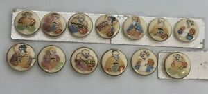 13pc Antique Vintage Satsuma Porcelain Japanese Immortal Gods Button Lot Gilt