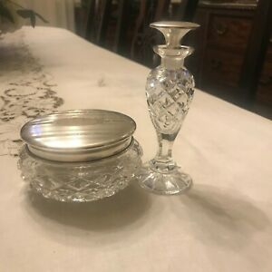 Vintage Birks Sterling Silver Crystal Powder Jar With Matching Perfume