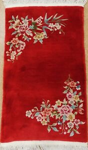 Chinese Art Deco Hand Knotted Wool Red Attractive Vintage Oriental Rug 3 X 5