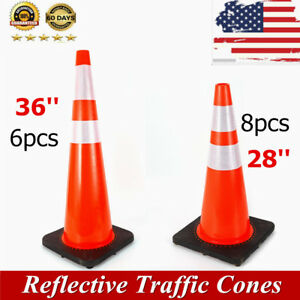 Multi Type Traffic Cones Black Base Reflective Collars Road Parking Safety Cones