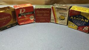 Lot of 5 Vintage Ammo Box. RemingtonCanuckFederal Cardboard bullets.Fire arms