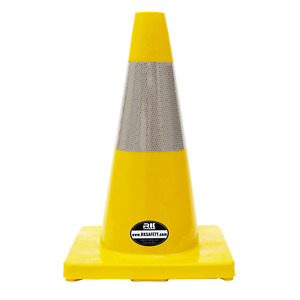 18 Rk Yellow Safety Traffic Pvc Cones Yellow Base With One Reflective Collar