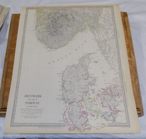 1833 Antique Color Sduk Map Denmark And Part Of Norway