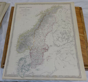 1841 Antique Color Sduk Map Sweden Norway And Denmark