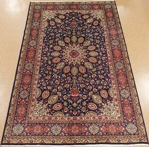 Persian Tabrizz Rug Hand Knotted Wool Navy Red Fine Oriental Carpet 7 X 10
