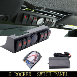 Fit Jeep Wrangler 6 Rocker Switch Panel Kit Control Box Digital Voltmeter