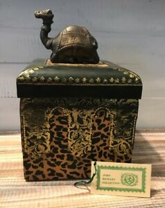 John Richard Collection Hand Painted Leather Wood Box Brass Camel India Gold