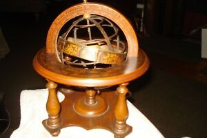 Vintage Wood Metal Zodiac World Globe On Stand Made In Italy 10 Tall Sticker