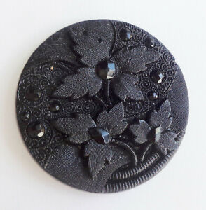 Lg Antique Black Glass Button Floral Brocade Fabric Like Surface 1