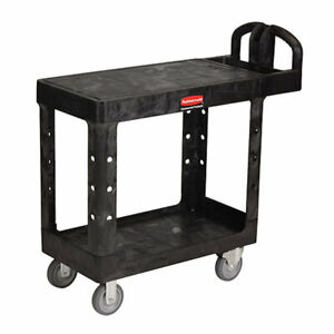 Rubbermaid Flat Shelf Kitchen Utility Cart Plastic