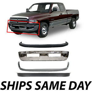 New Front Bumper Combo Kit Bundle 4 For 1994 2001 Dodge Ram Truck 1500 2500 3500