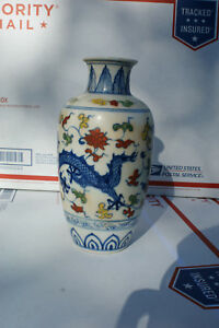 Chinese Antique Porcelain Dragon Pattern Vase Ming Ming Style Marked At Bottom