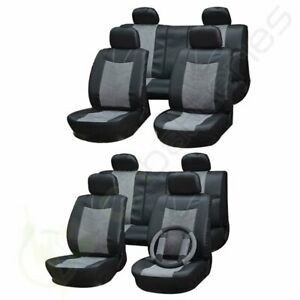 For 2000 2001 2002 2017 Jeep Wrangler Semi Pu Leather Grey Black Car Seat Covers