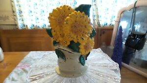 Vintage Cast Iron Yellow Flowers Door Stop Shabby Cottage Farmhouse Chic Style40